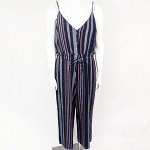 Splendid Linen Striped Jumpsuit NEW L Navy Pink